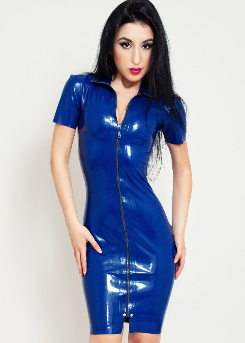 Latex Dress with Front Full-Length Zipper. Short Sleeves image 0