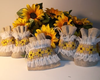 Sunflower themed linen and burlap gift/treat bags (set of 6)