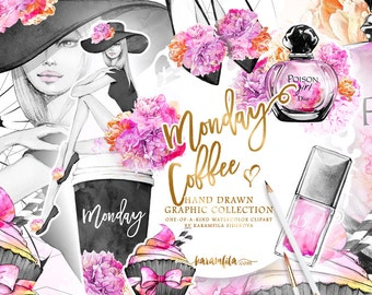 Monday Coffee Clipart, Fashion Clpart, Cupcake Clipart Planner DIY Beauty Blog Feminine Parfume Watercolor Peonies Floral Illustrations Set