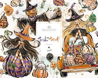 Halloween Pumpkin Truck Clipart, Karamfila's Halloween Scarecrow Planner Stickers, Fall Fabrics, Halloween Sublimation PNG, POD Supplies.