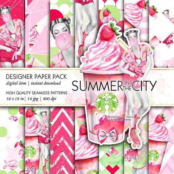 Roller Skates Summer Paper Pack Fruits Ice Cream City Fashion Patterns Takeaway Coffee Starbucks Cup Watercolor Backgrounds Planner Supplies