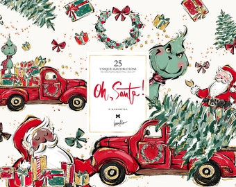 Santa Claus Christmas Clipart Karamfila's Christmas Planner Stickers Christmas Truck Fabric Sublimation SVG PNG Print on Demand POD Supplies