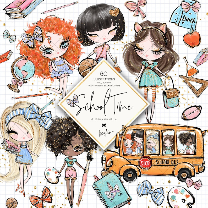 Back to School Clipart Planner Dolls Clipart School Bus Globe image 0