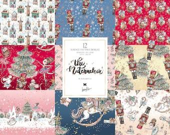 Christmas Nutcracker Digital Paper, Ballerina Patterns, Planner Dolls Christmas Planner Stickers, Karamfila's Gender Neutral Children Fabric