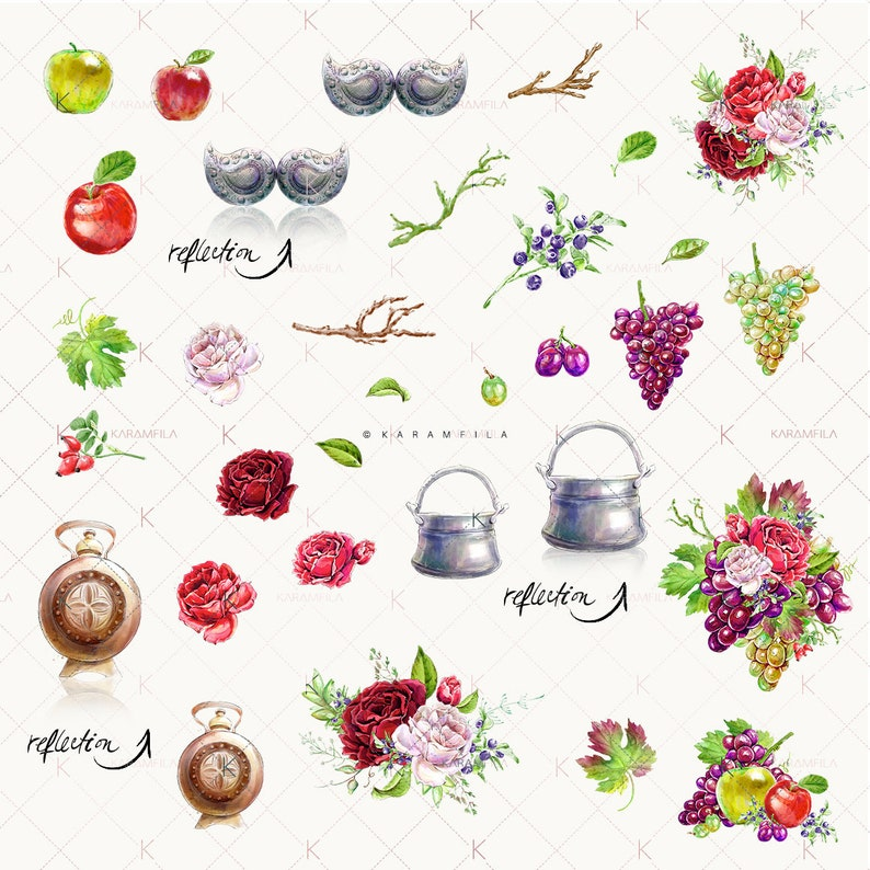 Red Roses Clipart Bulgarian Ethnic Clipart Autumn Clipart Ethno Clipart Slavic Clipart Farm Clipart Apple Clipart Fall Planner Stickers