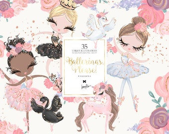Ballerina Clipart, Pony Clipart, Swan Clipart, Baby Girl Clipart, Girl Birthday Clipart, Ballerina Planner Stickers, Digital Fabric Printing