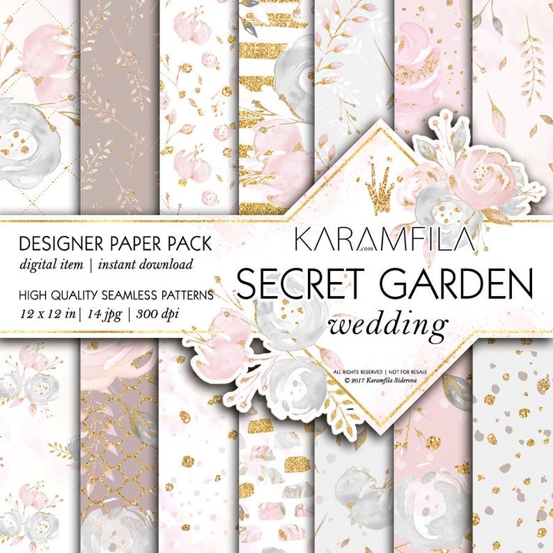 Wedding Paper Pack Blush Flowers Grey Pink Gold Peony Patterns Watercolor Floral Backgrounds Seamless Patterns Gold Glitter Planner Stickers
