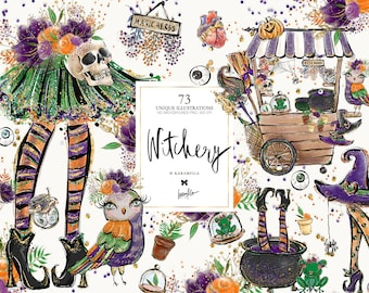 Halloween Witch Clipart, Karamfila's Witchcraft  Planner Stickers, Fall Fabrics, Halloween Sublimation SVG PNG, Print on Demand POD Supplies