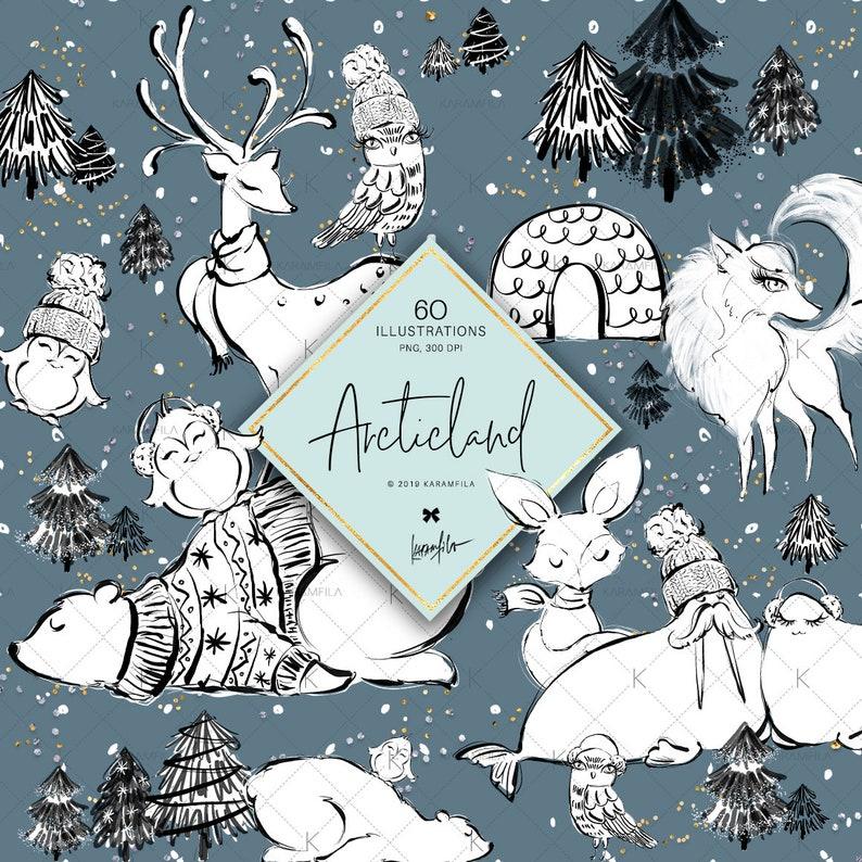 Winter Woodland Clipart Karamfila's Arctic Animals Doodle image 0