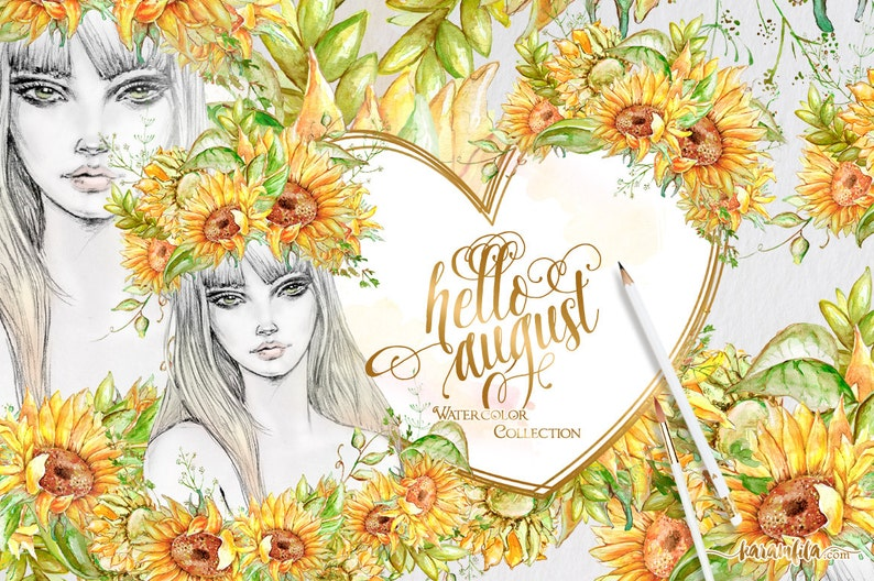 Hello August Clipart Sunflower Fashion Clipart Handpainted Etsy