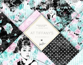 Fashion Paper Pack Breakfast at Tiffanys Black Blue Teal Audrey Hepburn Planner DIY Watercolor Peonies Digital Background Hydrangea Patterns