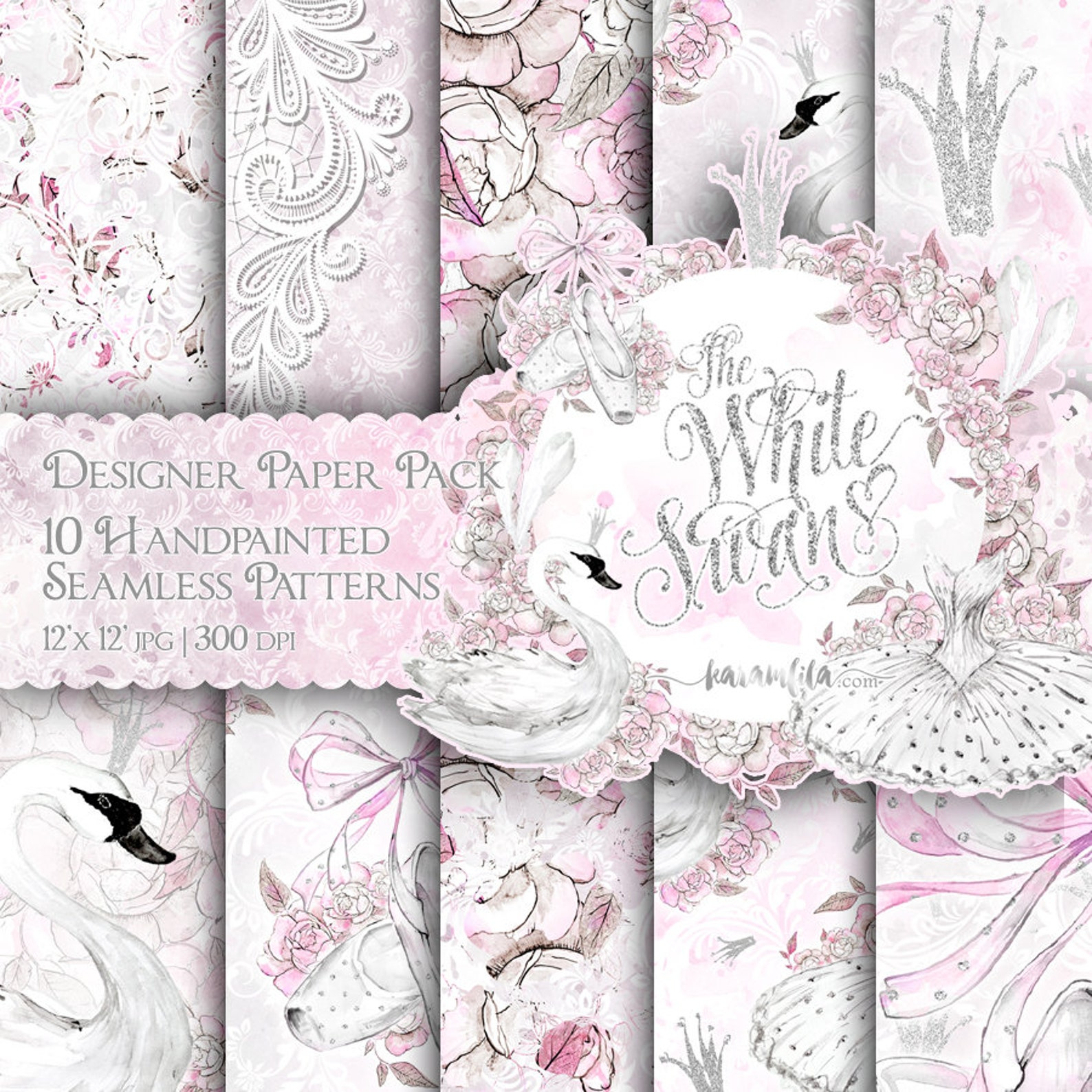 ballerina digital paper ballet watercolor swan handpainted floral seamless patterns ballet shoes feather crown silver pink glitt
