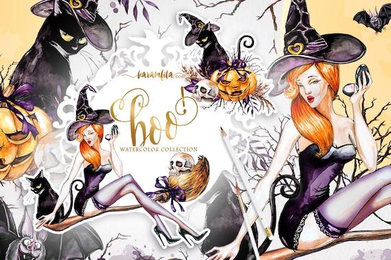 Watercolor Clip Art Happy Halloween Witch Lantern Hat Broomstick Bat Black cats Pampkins clipart Halloween planner DIY elements handpaint