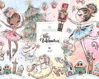 Nutcracker Clipart, Christmas Clipart, Ballerina Clipart, Winter Clipart, Karamfila's Christmas Planner Stickers, Fairytale Clip Art.