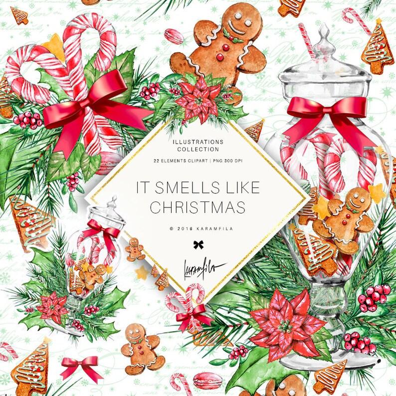 Christmas Clipart Xmas Graphics Watercolor Illustrations image 0