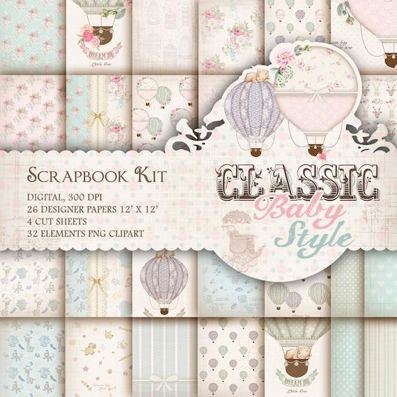 Vintage Baby Scrapbook Kit Baby Digital Paper Pack Shabby Baby Etsy