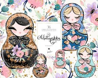 Matryoshka Clipart, Russian Nesting Doll Clipart, Nested Doll Clip Art, Matryoshka Doll Illustrations, Russian Flowers Planner Stickers DIY
