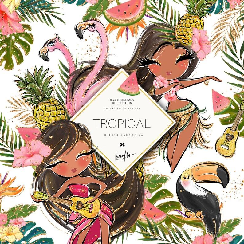 Tropical Clipart Glitter Flamingo Clipart Hula Girl Hawaii Aloha Clipart Watermelon Pineapple Clipart Ukulele Toucan Summer Planner Stickers