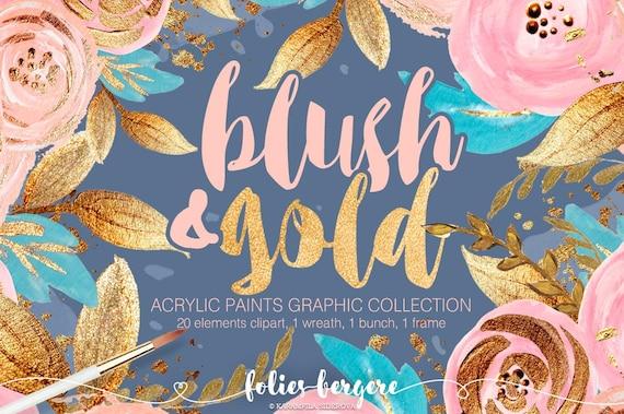 blush gold clipart boho chic flower wreath peach navy gold etsy