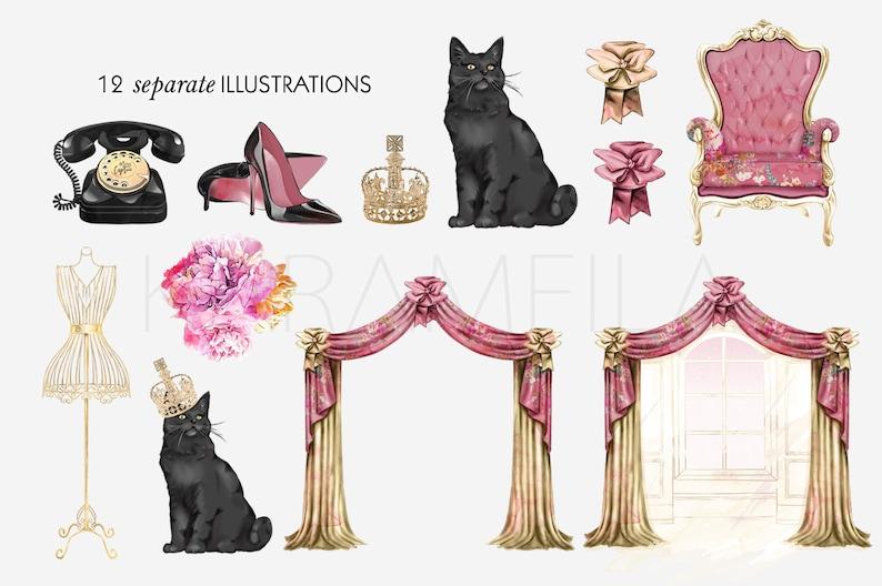 Boudoir Clipart Vintage Fashion Illustration French Mannequin Cat Queen Floral Curtains Favorite Books Cute Old Phone Crown Planner Supplies