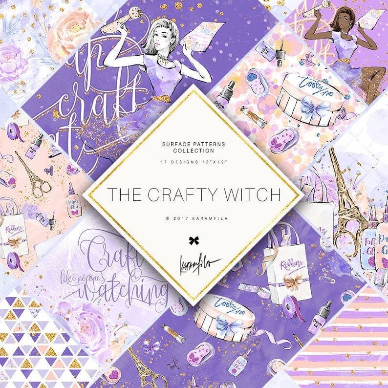Crafty Girl Digital Paper Scrapbook Seamless Patterns image 1