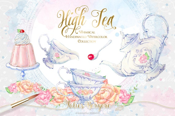 tea clipart watercolor tea party clipart high tea invitation etsy