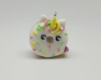 Unicorn donut polymer clay charm necklace