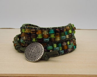 Wrap Bracelet - 6 3/4 inch (Medium) - Czech Glass Pony Beads on Thick Olive Green Suede with Metal Filigree Button