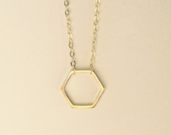 Gold Hexagon Pendant Necklace