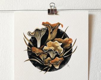 CHANTRELLE - art print, nature print, mushroom illustration, mushroom art, wall art, ink painting, mycology lover gift, gift idea