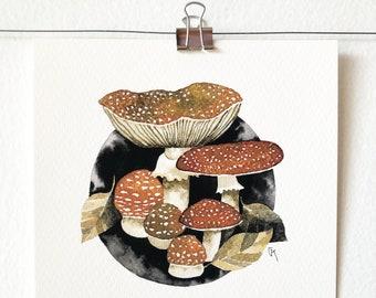 AMANITA MUSCARIA - art print, nature print, mushroom illustration, mushroom art, art, India ink painting, mycology lover gift, gift idea