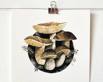 BOLETUS EDULIS - art print, nature print, mushroom illustration, mushroom art, wall art, India ink painting, mycology lover gift, gift idea