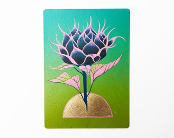 "RISE - 5""X7"", original art, hand painted, sunflower bud, aerosol art, acrylic painting, gold leaf, wall decor, gift idea"