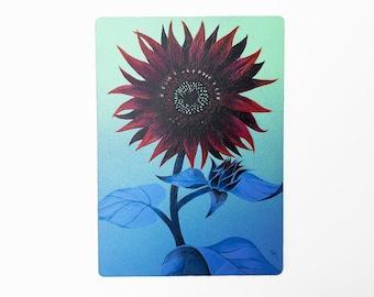 "DUSK - 5""X7"", original art, hand painted, sunflower, red sunflower, velvet, aerosol art, acrylic painting, wall decor, gift idea"