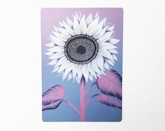 "EVENING HAZE - 5""X7"", original art, hand painted, sunflower, aerosol art, acrylic painting, pink, wall decor, gift idea, Mother's Day"