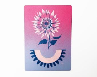 "MAGIC HOUR - 5""X7"", original art, hand painted, sunflower, aerosol art, acrylic painting, pink flower, wall decor, Mother's Day, gift idea"