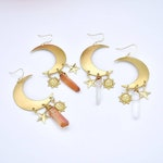 Celeste Moon, Sun, Stars, and Raw Quartz Earrings
