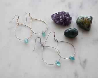 Cici Raw Apatite Hoop Earrings