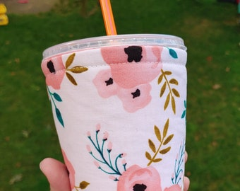 Pink Blush Floral Iced Coffee Cozy | Coffee Sleeve | Dunkin | Starbucks | Insulated