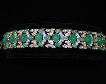 1960's Alfred Phillipe TRIFARI  JEWELS of INDIA Green Emerald & Pave Set Rhinestone Bracelet - mint condition