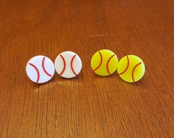 Baseball or Softball Earrings, 16mm Baseball or Softball Earrings, Baseball or Softball Earrings Studs, Personalized Earrings
