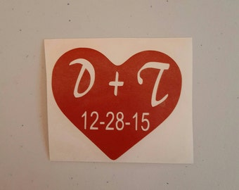 Personalized Heart Decal, Heart With Initials and Date Decal, Personalized Decal, Heart Decal