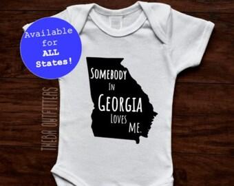 Baby Shower Gift, Baby Gift, Baby ONESIE®, Personalized State Love Onesie, Boy Girl Onesie, Personalized Onesie, Unisex Baby Onesie