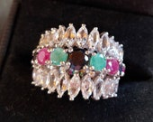 Stunning Sterling Silver Ring with Navette Crystals, Garnet, Jade Obsidian stones size 7 Signed 925 Thailand