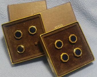 Avon Navy Blue Octagon Goldtone Button Covers 2 boxed sets (with one missing pc)~ A Vintage Classic