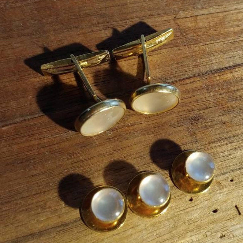 White Moonglow Goldtone Cuff Links and Shirt Button Studs Cufflinks Tuxedo Set