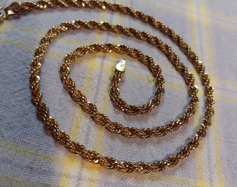 Marked 925 Gold Plated Sterling Silver Vintage Vermeil 20 Spiral  Chain Necklace
