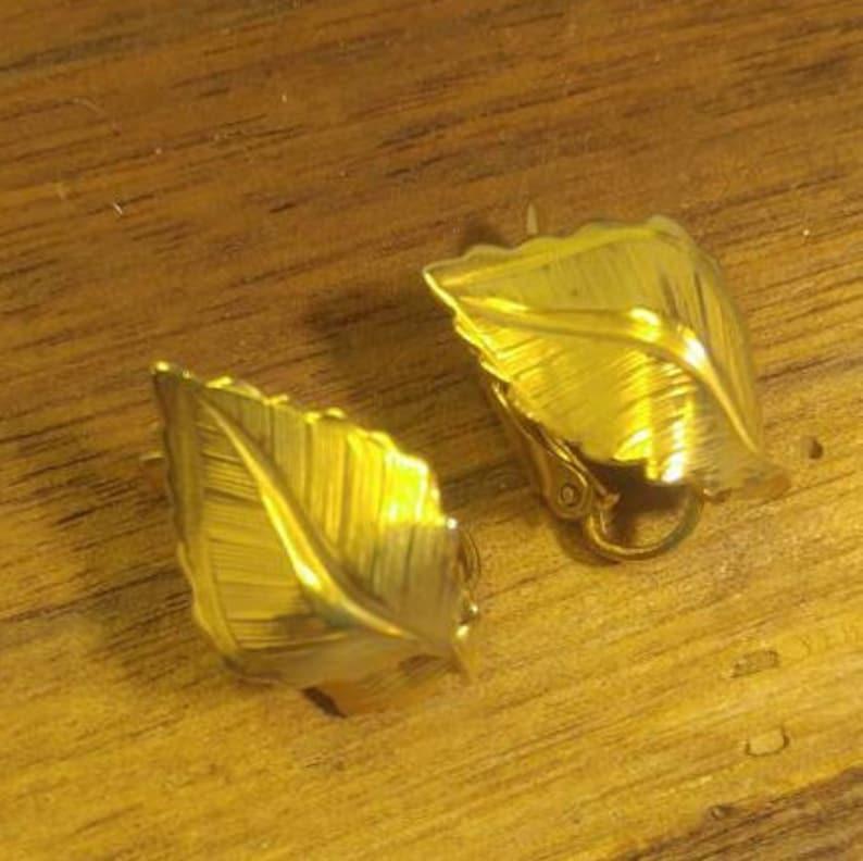 Vintage Golden Leaves Clip Earrings~ Signed but illegible!