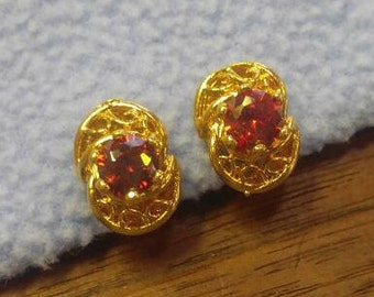 Stunning Red Garnett Goldtone Clip Earrings
