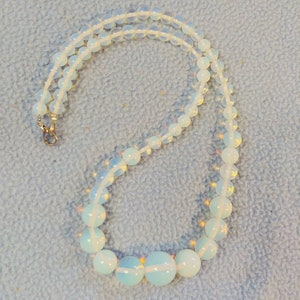 LSDB Peg Montana denim gray and green 19 inch single strand beaded necklace with brass bail